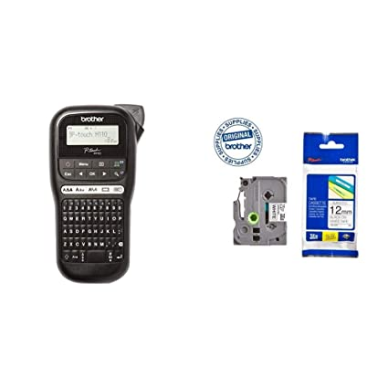 Brother PT-H110 - Impresora de etiquetas + Brother TZe231 - Cinta laminada, texto negro sobre fondo blanco, ancho: 12 mm, longitud: 8 m