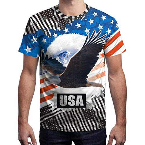 - Men's Summer 3D USA Flag Casual Printed Men Shirts Loose Round Neck T-Shirt Tops J Black