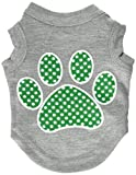 Mirage Pet Products Green Swiss Dot Paw Screen Print Shirt, X-Small, Grey