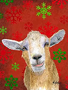 Rojo copos de cabra bandera de Navidad RDR3024GF, poliéster, Multicolor, S