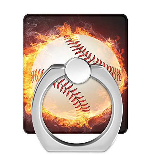 Fashion Baseball Sport Square phone Ring Holder,Silver Phone Ring Stand, 360°Rotation and 180°Flip Universal Ring Holder Grip Kickstand Mount Phone Ring for iPhone, iPad, Tablets,Samsung,HTC,Nokia (Baseball 180)
