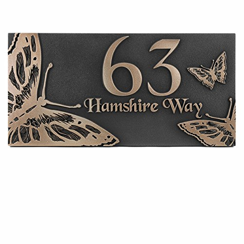 Beautiful Butterfly Address Plaque - 6x8 - Raised Bronze Patina Coated by Atlas Signs and Plaques