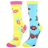 Women's Novelty Funny Sexy Crew Dress Socks,Fun Lips Hats Bra Design Socks,2 Pack Gift for Girlfriend