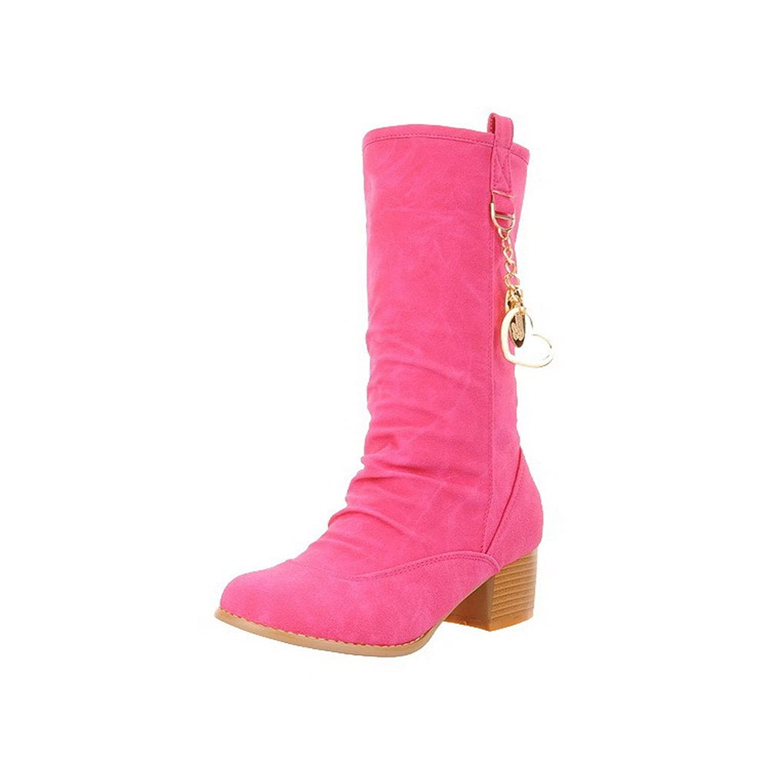 AllhqFashion Women's Solid Imitated Suede Kitten-Heels Pull-on Round Closed Toe Boots