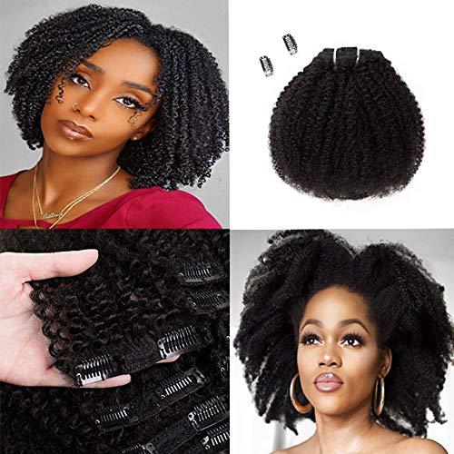 Saga Queen Brazilian Afro Kinky Curly Clip In Hair Extensions 8pcs 18clips 120g/pck Brazilian Virgin Human Hair Clip Ins (1 bundle 8inch, natural black)