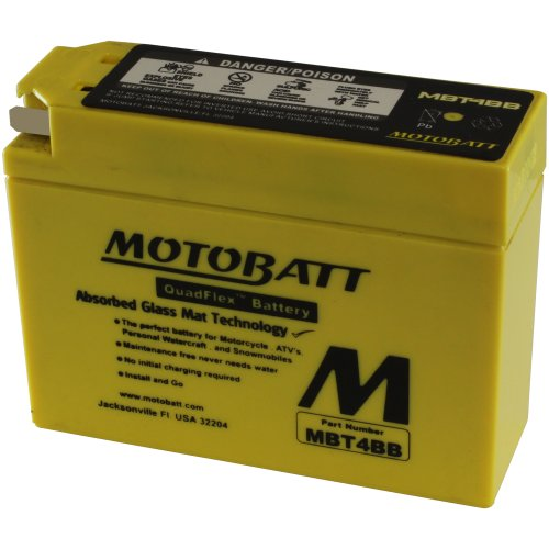 MotoBatt MBT4BB (12V 2.5 Amp) 40CCA Factory Activated QuadFlex AGM Battery
