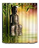 LB India Spa Zen Buddha Water Yoga Hot Spring Meditation Decoration Shower Curtain Polyester Fabric 3D 72x72 Mildew Resistant Waterproof Sunset Bamboo Bathroom Bath Curtains