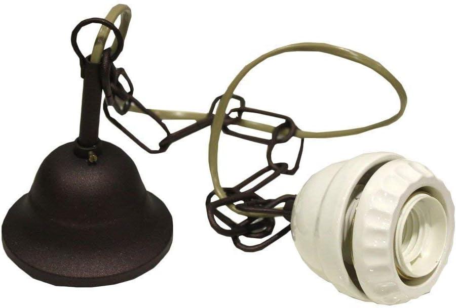 Lámpara de techo de latón con cadena y plato cerámica hondo 30 cm ...