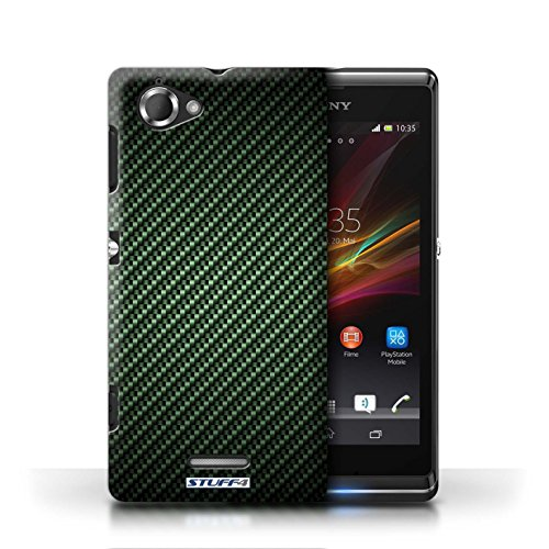 Etui / Coque pour Sony Xperia L/C2105 / Vert conception / Collection de Motif de Fibre de Carbone