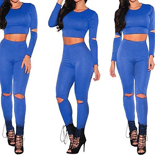 Bodycon4u 2 Pièces De Brassière En Creux Des Femmes Déchiré Survêtement Pantalon Bleu Sweatsuit