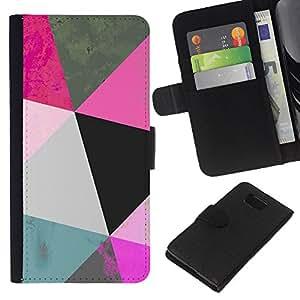 Planetar® Modelo colorido cuero carpeta tirón caso cubierta piel Holster Funda protección Samsung ALPHA G850 ( Polygon Art Blue Pink 3D Pattern Mint )