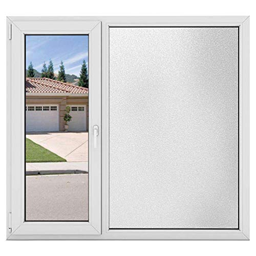 AILIYA Privacy Window Film White Frosted Film Thicken Static Cling Vinly Opaque Glass Film Non Adhesive Matte White Window Sticker for Home Office Meeting Living Room, 1 Roll, 17-3/4 by 78-3/4 inches - Adhesive White Film