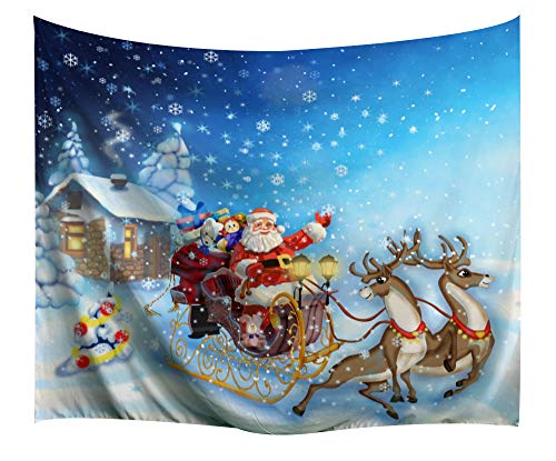 (Christmas Decorations Tapestry Wall Hanging by IMEI, 3D Santa Claus Print Fabric Modern Wall Art Hanging for Living Room Office Dorm and Bedroom (80 X 60 Inch, Santa Claus Reindeer)