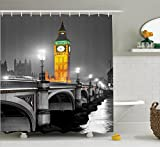 dark grey curtains uk Ambesonne London Shower Curtain, The Big Ben and The Westminster Bridge at Night in UK Street River European Look, Fabric Bathroom Decor Set with Hooks, 70 inches, Grey Yellow