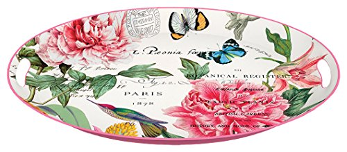 Michel Design Works Decorative Oval Metal Platter, 16.25 x 12.75-Inch, - Oval Platter Design