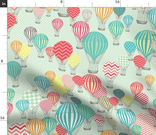 - Spoonflower hot air Balloon Fabric - Balloon Modern Nursery Decor Balloon Modern Kids Baby Houndstooth Chevron by Allisonkreftdesigns Printed on Petal Signature Cotton Fabric by The Yard