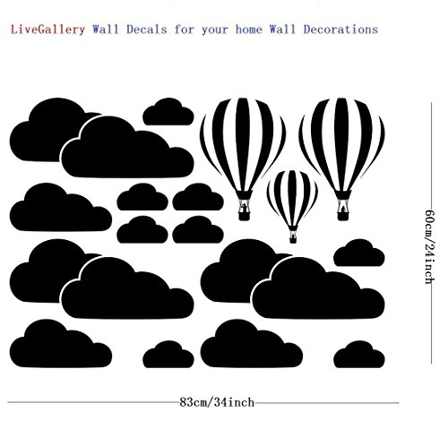 LiveGallery Giant Removable Vinyl 3D Hot air Balloons with Clouds Wall Decals DIY Wall Stickers Nursery Decor Kids Bedroom Art Decoration Girls Rooms Decal Child Sticker Home Walls Decal (Black) by LiveGallery