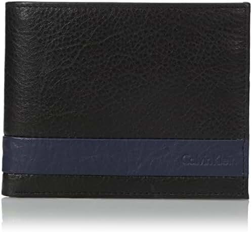 Calvin Klein Men's Calvin Klein Leather Stripe Billfold Wallet With Money Clip