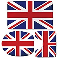 3 Piece Bath Mat Rug Set,Union-Jack,Bathroom Non-Slip Floor Mat,Classic-Traditional-Flag-United-Kingdom-Modern-British-Loyalty-Symbol-Decorative,Pedestal Rug + Lid Toilet Cover + Bath Mat,Royal-Blue-R