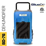 BlueDri BD-76P-BLUE BD-BD-76-BL Commercial Industrial Dehumidifier, 76 Pints, Blue