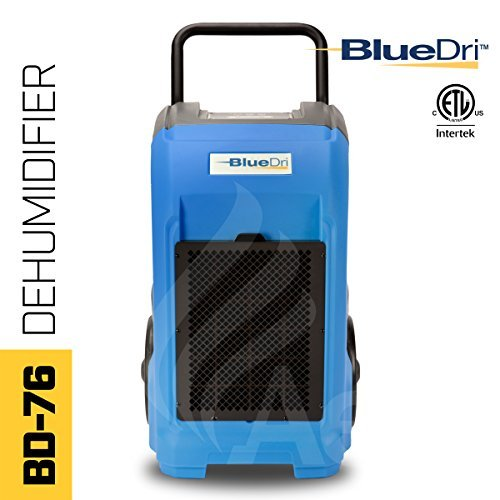 BlueDri BD-76P-BLUE BD-BD-76-BL Commercial Industrial Dehumidifier, 76 Pints, Blue