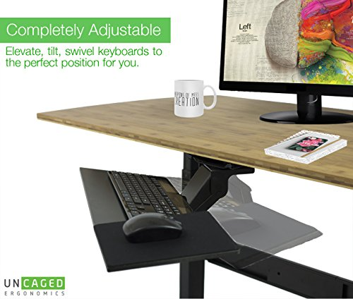 Uncaged Ergonomics Ergonomic Under Desk Keyboard Tray with Mouse Pad | Adjustable Height & Angle with Negative Tilt (KT1-b)
