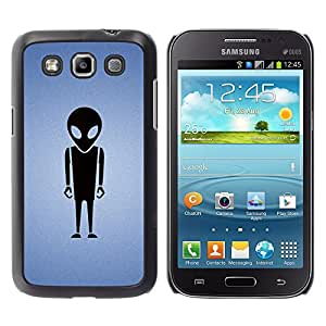 QCASE / Samsung Galaxy Win I8550 I8552 Grand Quattro / dibujo figura alienígena grandes ojos ufo arte negro / Delgado Negro Plástico caso cubierta Shell Armor Funda Case Cover