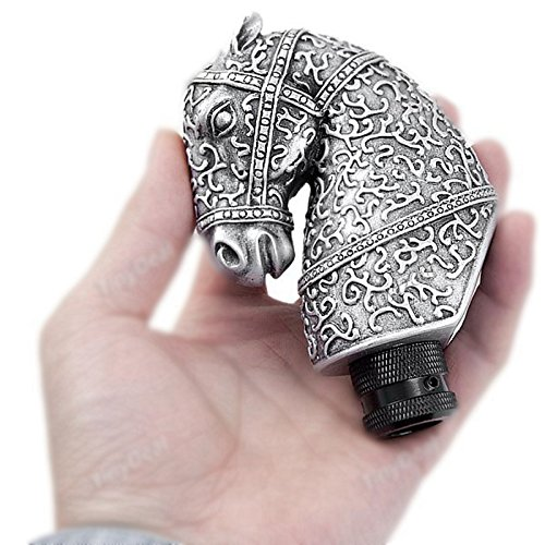 (COGEEK Resin Silver Cool Antique Horse Head Shaped Car Manual Gear Shift Knob Automobile Accessory)