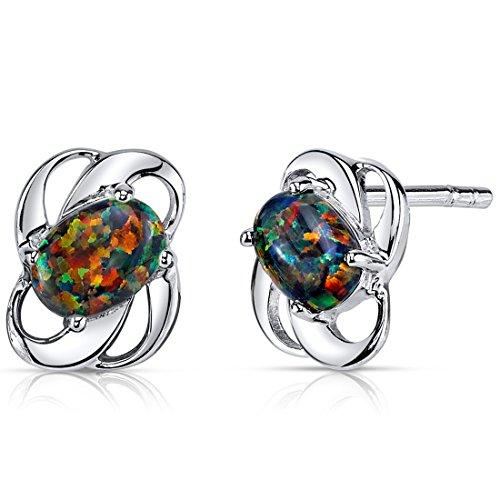 Created Black Opal Earrings Sterling Silver Oval Shape 1.50 Carats