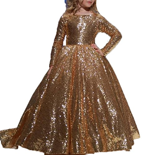 Gold Christmas Holiday Dress - BessDress Long Sleeves Flower Girl Dresses Sequins Holiday Party Dresses BD410