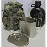 G.I. TYPE, U.S made 1 QT Canteen With Stainless Steel Cup and LID & Military Issue ACU MOLLE II Pouch Kit.