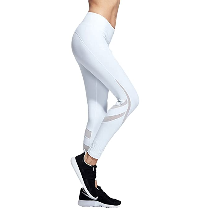 cb9296b82e9e Yabliss Women Activewear Mesh Trousers Workout Yoga Leggings Running Pants  Training Tights White S