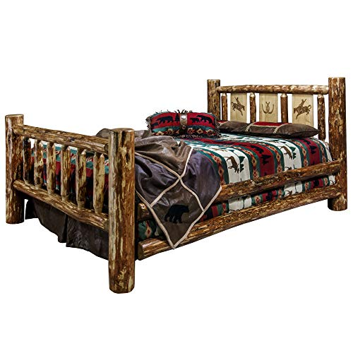 Montana Woodworks MWGCFBLZBRONC Glacier Country Collection Full Bed Brown