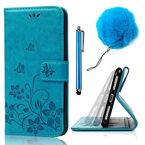 Samsung Galaxy S8 Case [Scratch-Resistant],Vandot Embossed Butterfly Flower Magnetic Folio Stand Wallet Case with Card Slots Drop Protection Practical Cover Case-Blue + Pompom Pendent + Stylus