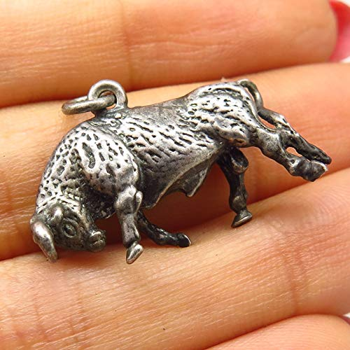 Vintage Signed 925 Sterling Silver Bull/Taurus Design Solid Charm Pendant Jewelry Making Supply by Wholesale Charms