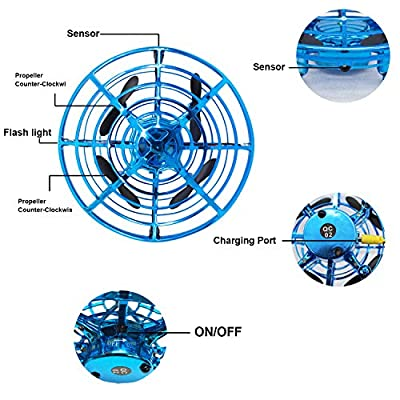 weird tails Mini Drone Flying Toy Hand Operated Drones for Kids or Adults - Hands Free UFO Helicopter, Easy Indoor Outdoor Flying Ball Drone Toys for Boys Girls (Blue): Toys & Games
