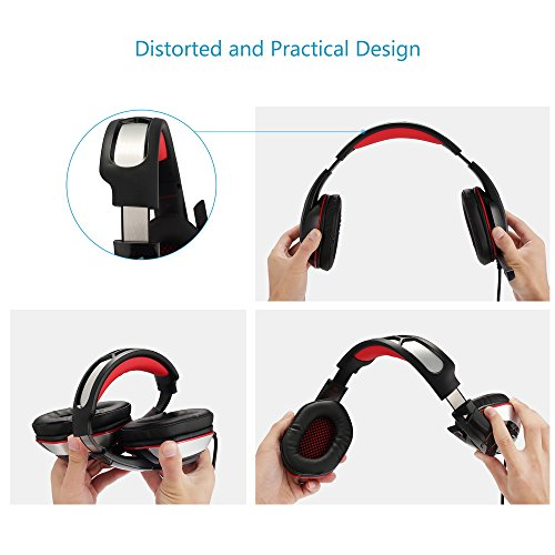 PS4 Headset, PS4 Headphones, PC Gaming Headset with LED light, Over-ear Professinal Gaming Headphones with Mic 3.5mm, Christmas Gifts, Noise Reduction Bass Headsets for PC, Laptops, Tablets. by IMMOSO (Image #4)