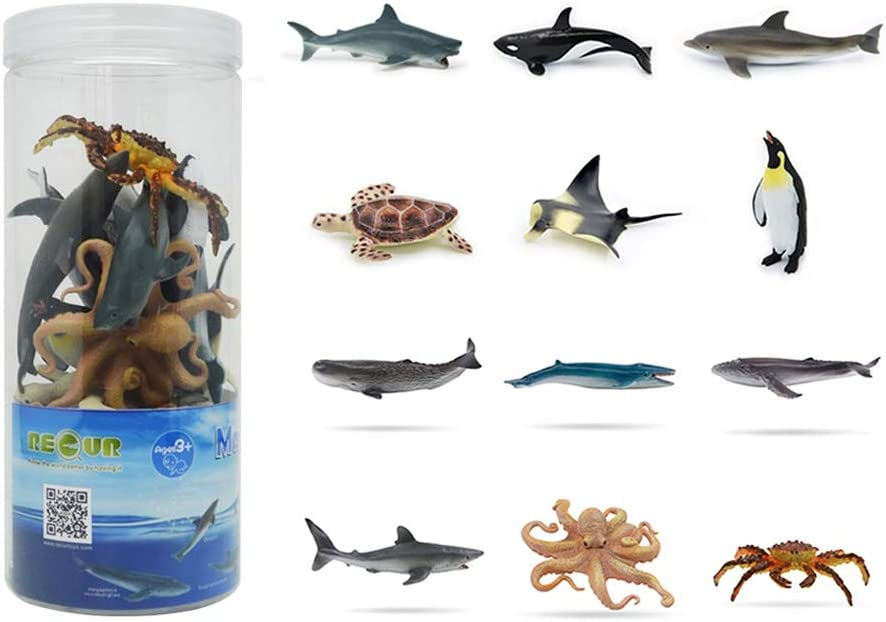 "RECUR Sharks Toys Set Soft Safe Odorless for Toddlers Mini Ocean Sea Animals Figure Playset Pool Party Decorations Favors 12 Pack, 3"" Educational Bath Toy for Child with Scientific Popularization Book"