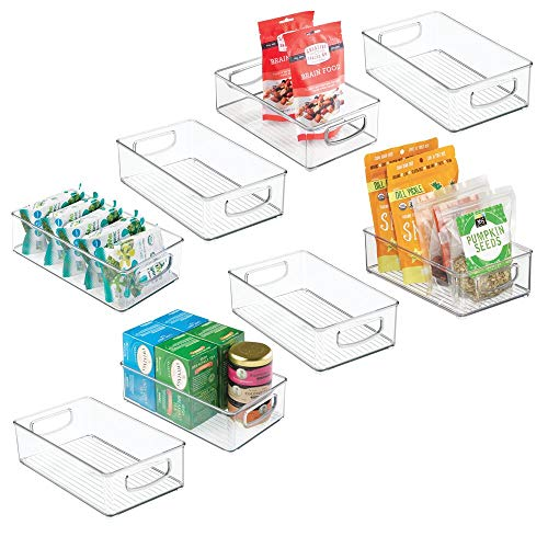 mDesign Small Plastic Kitchen Storage Container Bins with Handles -Organization in Pantry, Cabinet, Refrigerator or…