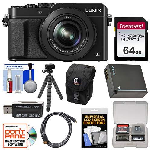 Panasonic Lumix DMC-LX100 4K Wi-Fi Digital Camera (Black) with 64GB Card + Case + Battery + Flex Tripod + Kit - Slr Cameras Lumix Panasonic