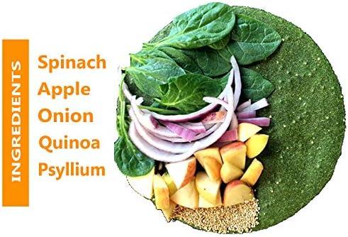 Raw Wraps Espinacas sin gluten, veganas, crudas, aptas para personas alérgicas (1 paquete de 5 envolturas)