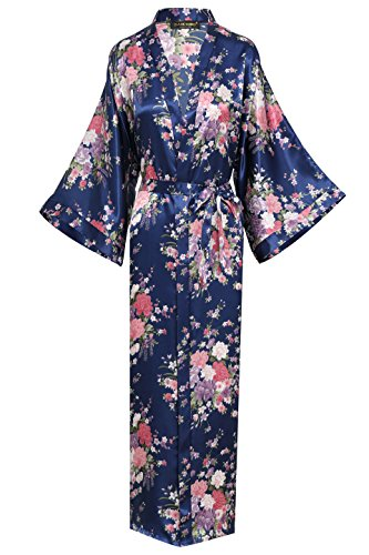 "BABEYOND Womens Kimono Robe Long Floral Wedding Robes for Bridesmaids Kimono Nightgown Sleepwear Kimono Outfit 53"" Long (Blue)"