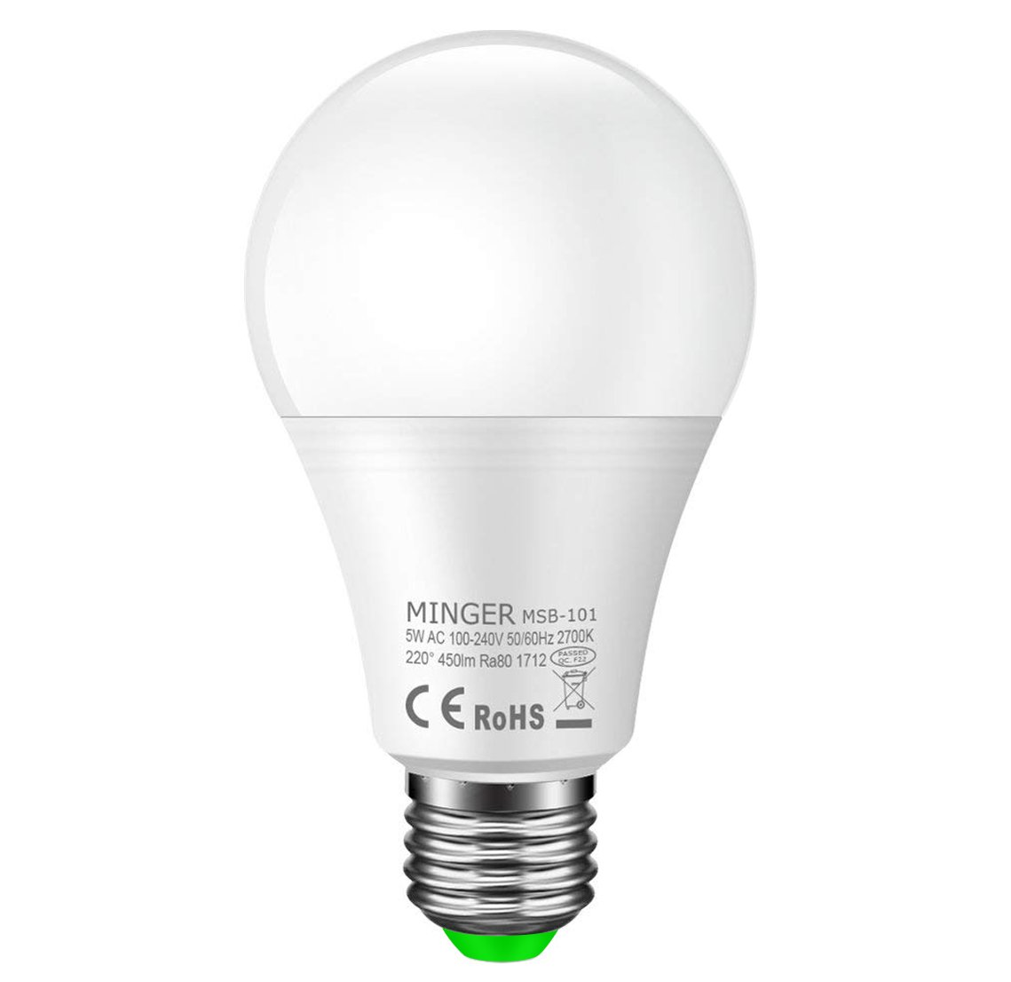 Minger LED電球 搭載レーダー探知機 E26/E27口金 40W形相当 電球色 明暗&人感センサー 自動点灯 5W 一般電球・広配光タイプ