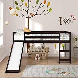 Twin Loft Bed with Slide for Kids/Toddlers, Wood Low Sturdy Loft Bed, No Box Spring Needed 17