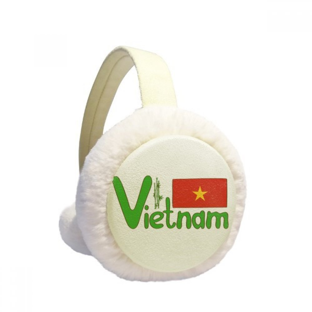 Vietnam National Flag Red Green Pattern Winter Earmuffs Ear Warmers Faux Fur Foldable Plush Outdoor Gift