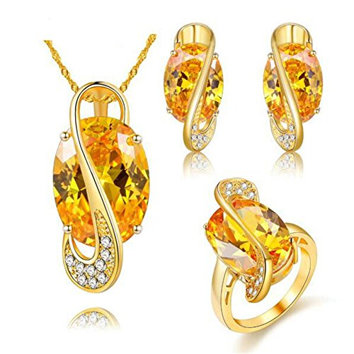 Uloveido Yellow Lab Topaz Cubic Zirconia Stud Drop Dangle Earrings Big Oval Rings Set for Women (Gold Plated, Yellow Stone, Size 10) Y183