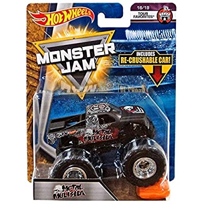 2020 Hot Wheels Monster Jam Tour Favorites 16/19 - Metal Mulisha includes Re-Crushable Car!: Toys & Games