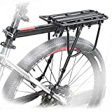 HOMEE Bike Rack, 110 lbs / 50KGS Rear Bike Frame Aluminum Alloy Universal Adjustable Cargo Rack Equipment Stand Footstock Bicycle Luggage Carrier with Tools and Reflector – Black