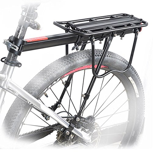 HOMEE Bike Rack, 110 lbs / 50KGS Rear Bike Frame Aluminum Alloy Universal Adjustable Cargo Rack Equipment Stand Footstock Bicycle Luggage Carrier with Tools and Reflector - Black
