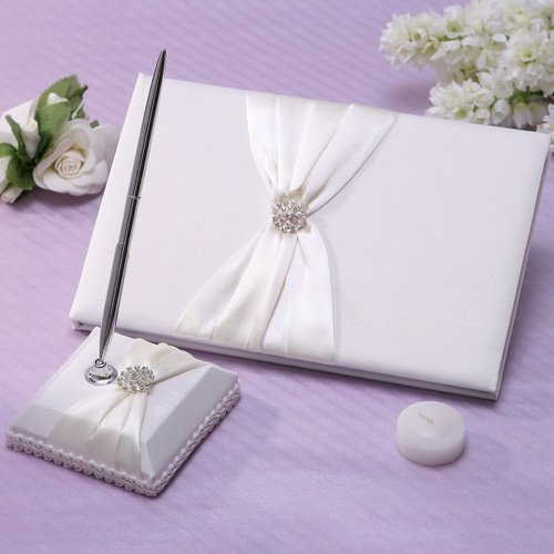 Meiysh Satin Bow Rhinestone Flower White Base Wedding Accessories Guest Book and Pen Set with Rhinestone (Ivory - Ivory Wedding Book Set